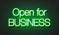 Open For Business Neon Sign On Brick Wall Background. Royalty Free Stock Images - 86621789
