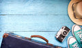 Old Retro Vintage Suitcase And Camera Tourism Travel Background Stock Photos - 86649353