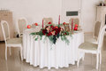 Glorious Autumn Bouquet On Guest Wedding Table Royalty Free Stock Photos - 86654158