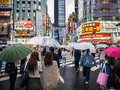 Crowds At Crossing In Japan Royalty Free Stock Image - 86657756