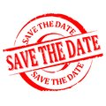 Damaged Round Red Stamp With The Word - Save The Date - Vector Royalty Free Stock Photos - 86673828