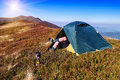 Tourist Resting In A Tent Stock Photos - 86679153