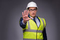 The Man Wearing Hard Hat And Construction Vest Royalty Free Stock Photo - 86701215