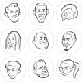 Line Drawing Of Diverse People Faces Stock Photography - 86711312