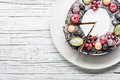 Chocolate Berry Cake On Plate Over White Wooden Background Royalty Free Stock Photos - 86724988