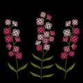 Vintage Embroidery Stitches With Spring Pink Flowers Forget Me N Stock Photo - 86757840