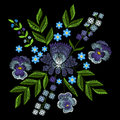 Embroidery With Violets, Forget Me Not Flowers. Vector Fashion O Royalty Free Stock Image - 86758596