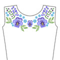 Embroidery Stitches With Spring Violet Flowers, Indigo Forget Me Stock Photo - 86759580