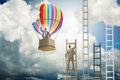 Career Achievement Concept With Businessman On Balloon And Ladde Royalty Free Stock Photos - 86770968