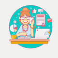 Young Office Manager Or Businesswoman Multi-tasking.  Business Lady Or Company Worker. Secretary  Or A Clerk Working Royalty Free Stock Images - 86786919