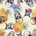 Seamless Pattern With Skulls And Rose Flowers Drawn In Engraving Style And Translucent Colorful Blots. Modern And Trendy Stock Photos - 86789373