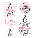 8 March. Happy Women`s Day. Collection Of Beautiful Handwritten Words And Hand Drawn Elements In Pink Color. Vector Stock Images - 86789634