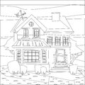 Catroon House Building Coloring Vector Illustration Royalty Free Stock Photos - 86800338