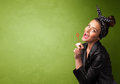 Beautiful Woman Blowing Soap Bubble On Copyspace Background Royalty Free Stock Image - 86815386