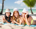 Happy Young Women In Bikinis On Summer Beach Royalty Free Stock Photos - 86824218
