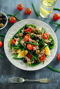 Fresh Tuna Green Bean Salad With Eggs, Tomatoes, Beans, Olives On White Plate. Concept Healthy Food Stock Photo - 86829720