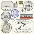 Grunge Rubber Ink Stamps Set With Plane Text Air Mail Royalty Free Stock Photos - 86874168