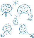 Family Doodles Royalty Free Stock Image - 8694896