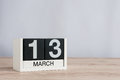 March 13th. Day 13 Of Month, Wooden Calendar On Light Background. Spring Time, Empty Space For Text Stock Photos - 86910993