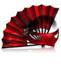 Red Fan And Mask With Feathers Stock Image - 86938641