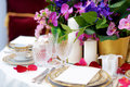 Beautiful Table Setting With Crockery And Flowers For A Party, Wedding Reception Or Other Festive Event Royalty Free Stock Images - 86959929