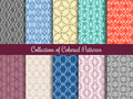 Modern Floral Pattern Set In Vintage Style. Seamless Patterns Collection With Calligraphic Swirls Stock Images - 86981244