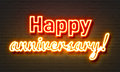 Happy Anniversary Neon Sign On Brick Wall Background. Stock Image - 87058551