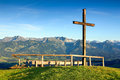 Wooden Summit Cross With Scenic View To Mountain Range Royalty Free Stock Image - 87082356
