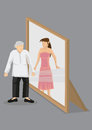 Old Woman Sees Herself As Young Woman In Mirror Cartoon Vector I Royalty Free Stock Photography - 87093477