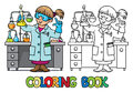Coloring Book Of Funny Chemist Or Scientist Royalty Free Stock Photos - 87095718
