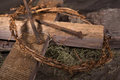 Crown Of Thorns And Wooden Cross Royalty Free Stock Photography - 87116007