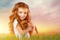 Beautiful Red-haired Little Girl With Red Puppy Outdoor. Kid Pet Friendship Royalty Free Stock Images - 87141249