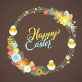 Happy Easter Calligraphy Greeting Card. Modern Brush Lettering And Floral Wreaths. Joyful Wishes, Holiday Greetings Royalty Free Stock Photography - 87211047