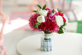 Wedding Bouquet Roses And Peonies In Glass Vase On Table Royalty Free Stock Images - 87219459