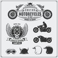 Collection Of Retro Motorcycle Labels, Emblems, Badges And Design Elements. Helmets, Goggles And Motorcycles. Vintage Style. Royalty Free Stock Photos - 87219798