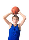 Teenager Wants To Throw A Ball For Basketball. Isolated On White Background Royalty Free Stock Image - 87245796