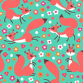 Little Cute Squirrels On Flowers Meadow. Seamless Spring Or Summer Pattern For Gift Wrapping, Wallpaper, Childrens Room Stock Photos - 87246033