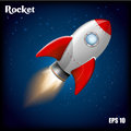 Rocket Ship.Vector Illustration With 3d Flying Rocket. Space Travel To The Moon. Space Rocket Launch. Project Start Up Royalty Free Stock Photo - 87273845