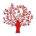 Abstract Red Heart Tree, Isolated Nature Symbol, Silhouette Sign Stock Photography - 87283992