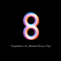 Isolated Neon Pink Color Number Eight Icon On Black Background, International Women Day Greeting Card Element Vector Stock Image - 87284301