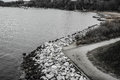 Black & White Scene Of A Rocky Shoreline And Wooded Beach Royalty Free Stock Image - 87284676