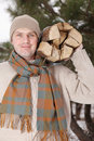 Man With Firewood Royalty Free Stock Photo - 8736565