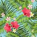 Exotic Tropical Pattern Palm Leaves Bright Flowers Royalty Free Stock Photos - 87310588