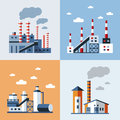 Factory Buildings, Nature Pollution Vector Illustrations, Banners Royalty Free Stock Photos - 87310818