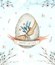 Hand Drawing Easter Watercolor Eggs With Leaves, Branches And Fe Royalty Free Stock Image - 87313886