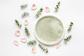 Breakfast Plate With Petals And Eucalyptus On White Background Top View Mockup Royalty Free Stock Photos - 87316708