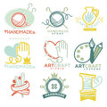 Art And Handmade Craft Logo Templates Flat Set. Royalty Free Stock Images - 87335149