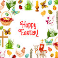 Easter Symbols Poster For Greeting Card Design Royalty Free Stock Photo - 87336795