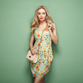 Blonde Young Woman In Floral Summer Dress Royalty Free Stock Image - 87337016
