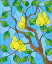 Stained Glass Illustration  With The Branches Of Pear  Tree , The Fruit Branches And Leaves Against The Sky Stock Image - 87337371